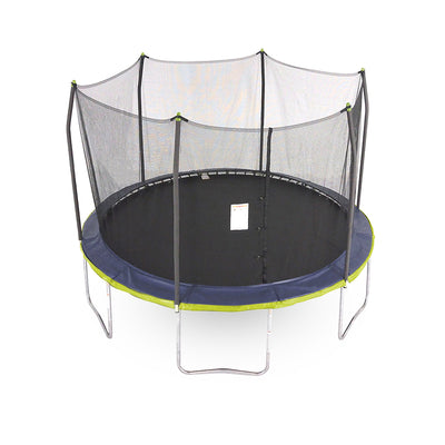 13-foot round kids trampoline with unique dual color spring pad.