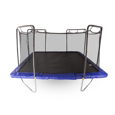 Large fifteen-foot square trampoline with a black enclosure net, black jump mat, and blue spring pad.