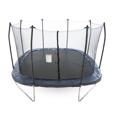 Thirteen-foot square trampoline with black jump mat, navy pole caps, and a LED lighted navy spring pad.