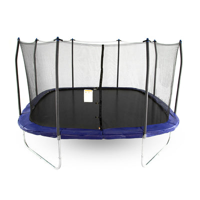 Fourteen-foot square trampoline with blue spring pad, blue pole caps, black enclosure net, and black jump mat.