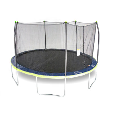 Oval kids trampoline with black jump mat, a blue and lime green two-toned spring pad, and lime green pole caps.