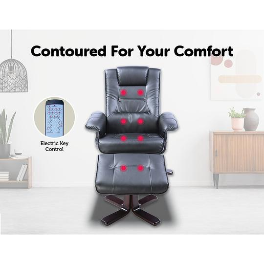 PU Leather Massage Chair Recliner Ottoman Lounge Remote - Black - Massage Chairs Aus