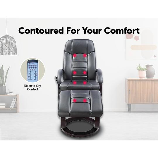 PU Leather Deluxe Massage Chair Recliner Ottoman Lounge Remote - Massage Chairs Aus