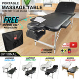 Massage Table Portable Aluminium/Wooden 2/3 Fold Bed Therapy Waxing 55/70/75cm - Massage Chairs Aus