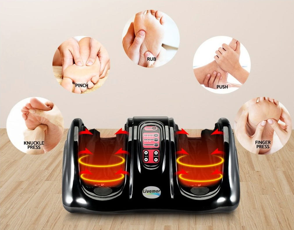 Foot Massager Reflexology Homedics Shiatsu Ankle Kneading Rolling Massagers Machine Grey - Massage Chairs Aus