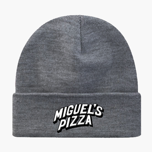 Grey Miguel's Pizza Embroidered Beanie Hat (free P&P)
