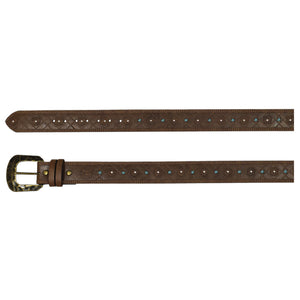 Hooey Ladies Brown Belt With Turquoise Cord