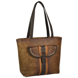 Justin Tote Woodland Brown Burnished