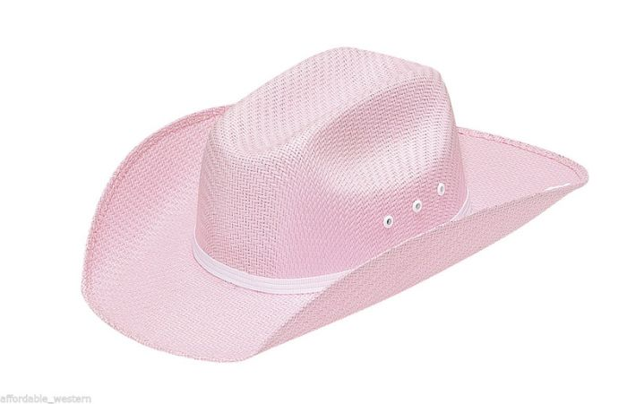 Kid's Pink Straw Cowgirl Hat