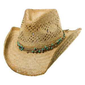 Dorfman Pacific Straw Hat With Beads