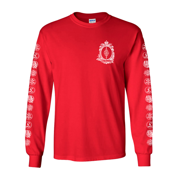 ALL LOGOS LONG SLEEVE RED T-SHIRT