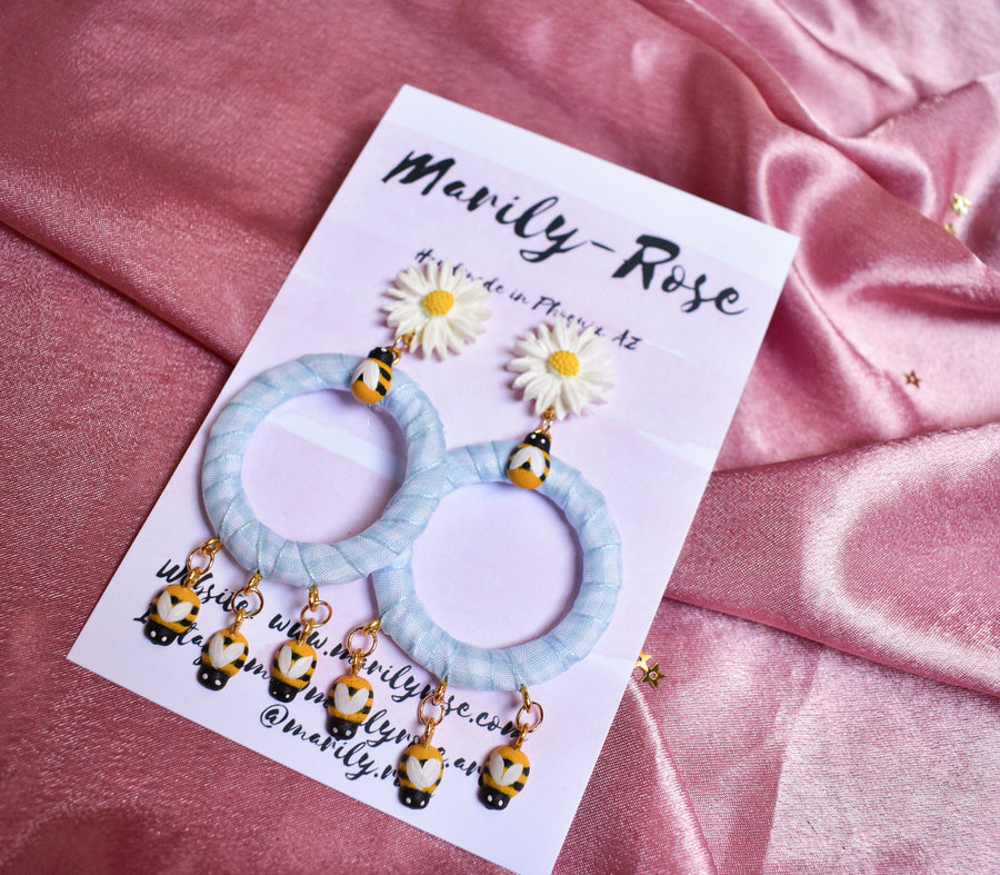Gingham Picnic B*+ch Earrings | Blue Daisy Bee
