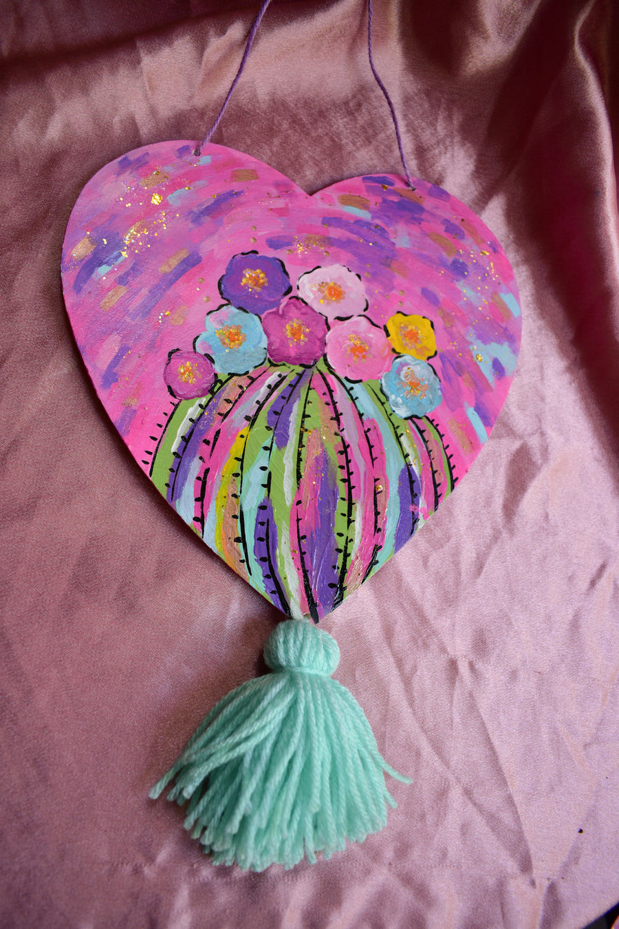 Wall Hanging | Cacti Flower Painting Wood Heart