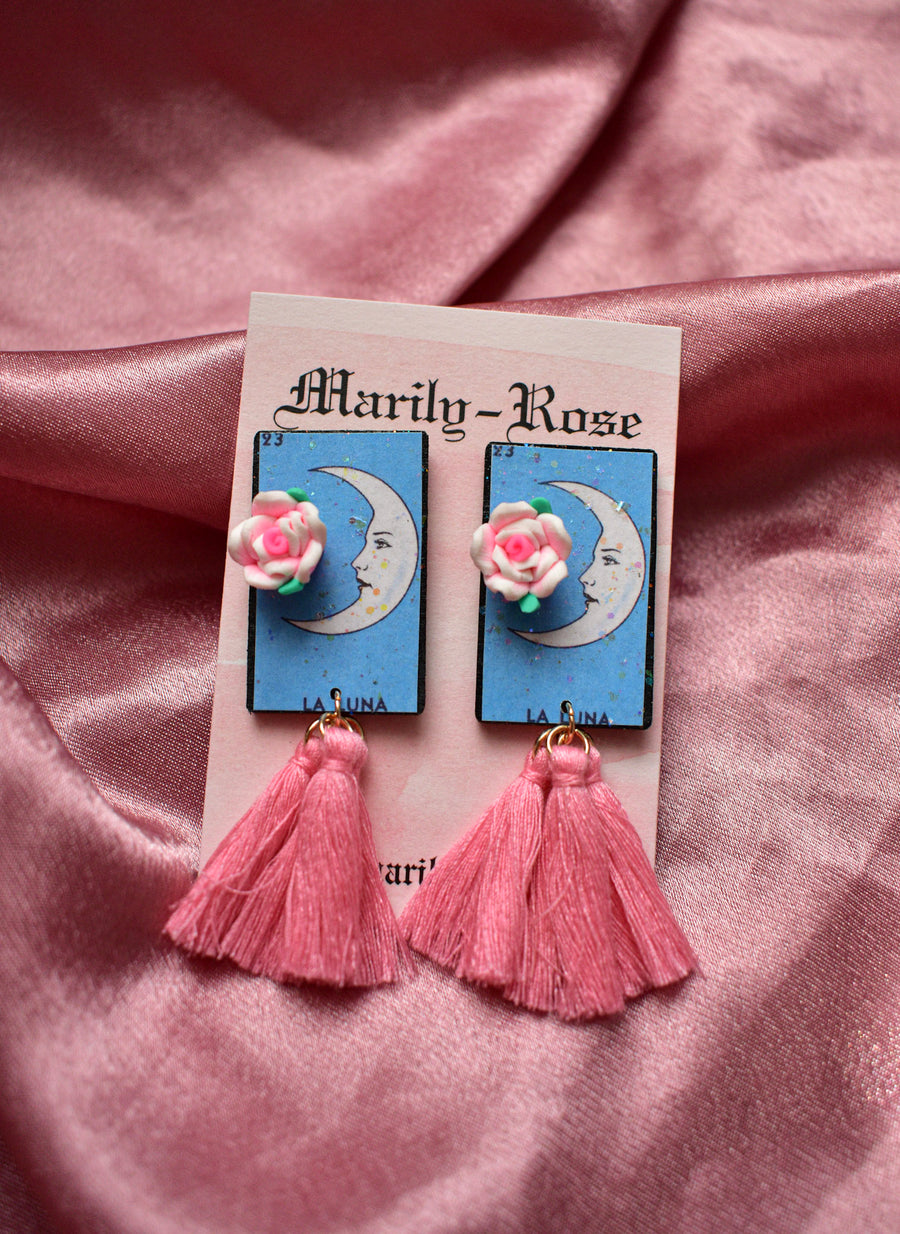 Loteria Card Earrings | La Luna