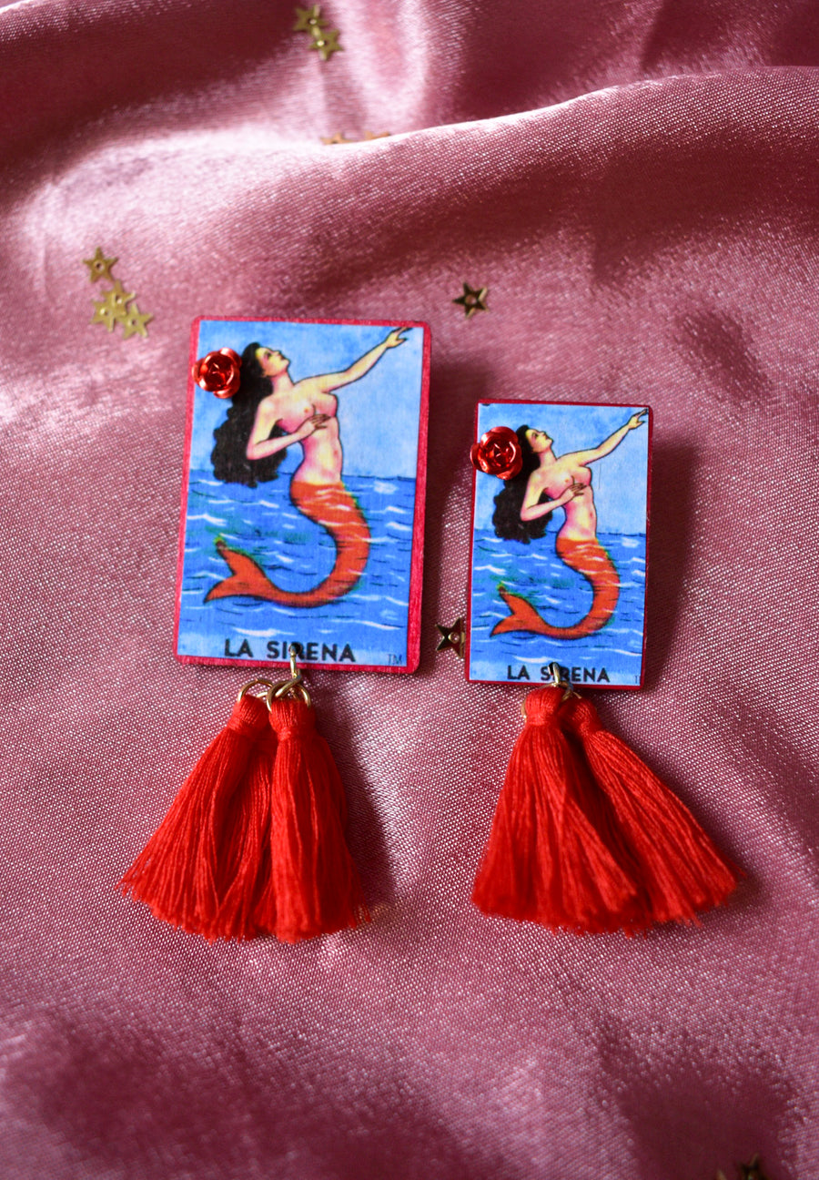Loteria Card Earrings | La Sirena