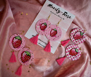 Hand Painted Earrings | Strawberry
