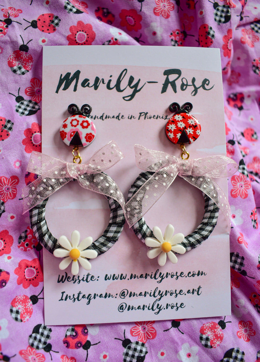 LadyBug Daisy Gingham Earrings