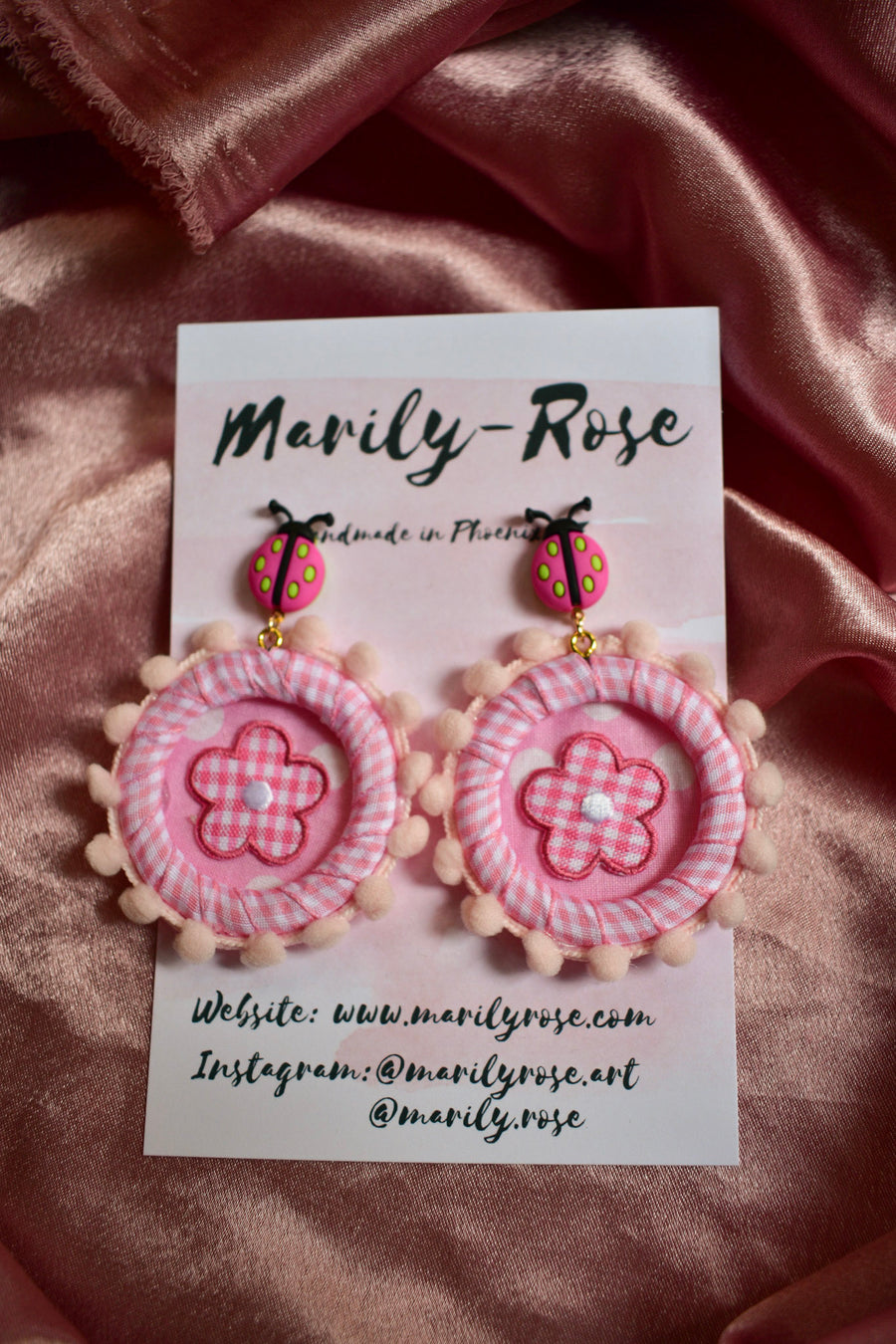 Kitschy Lady Bug Fabric Earrings