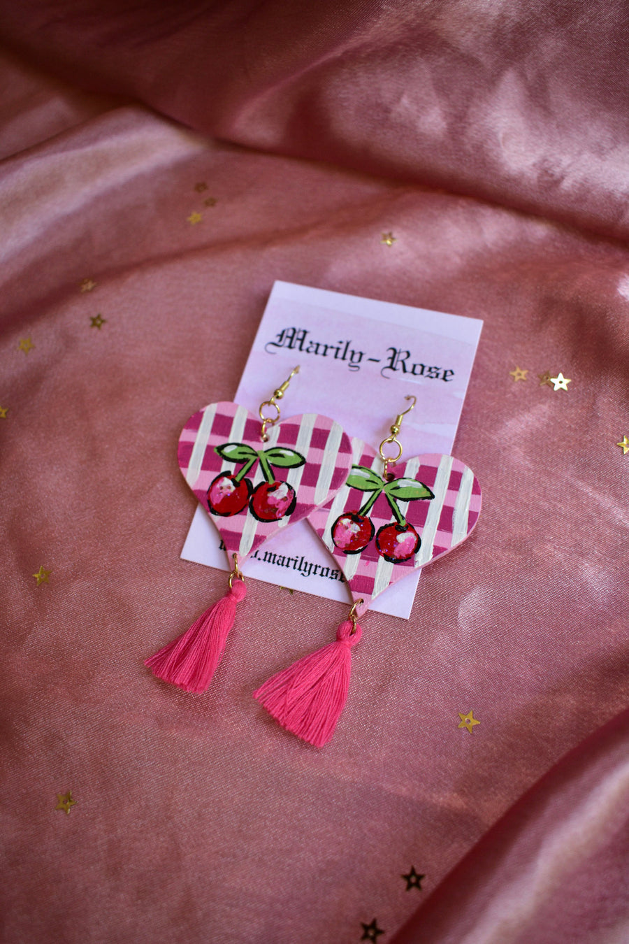 Cherry Earrings Hand Painted Plaid Gingham with Tassel