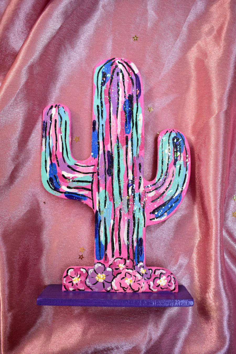 Original Painting | Cut Out Cacti Wood Painting