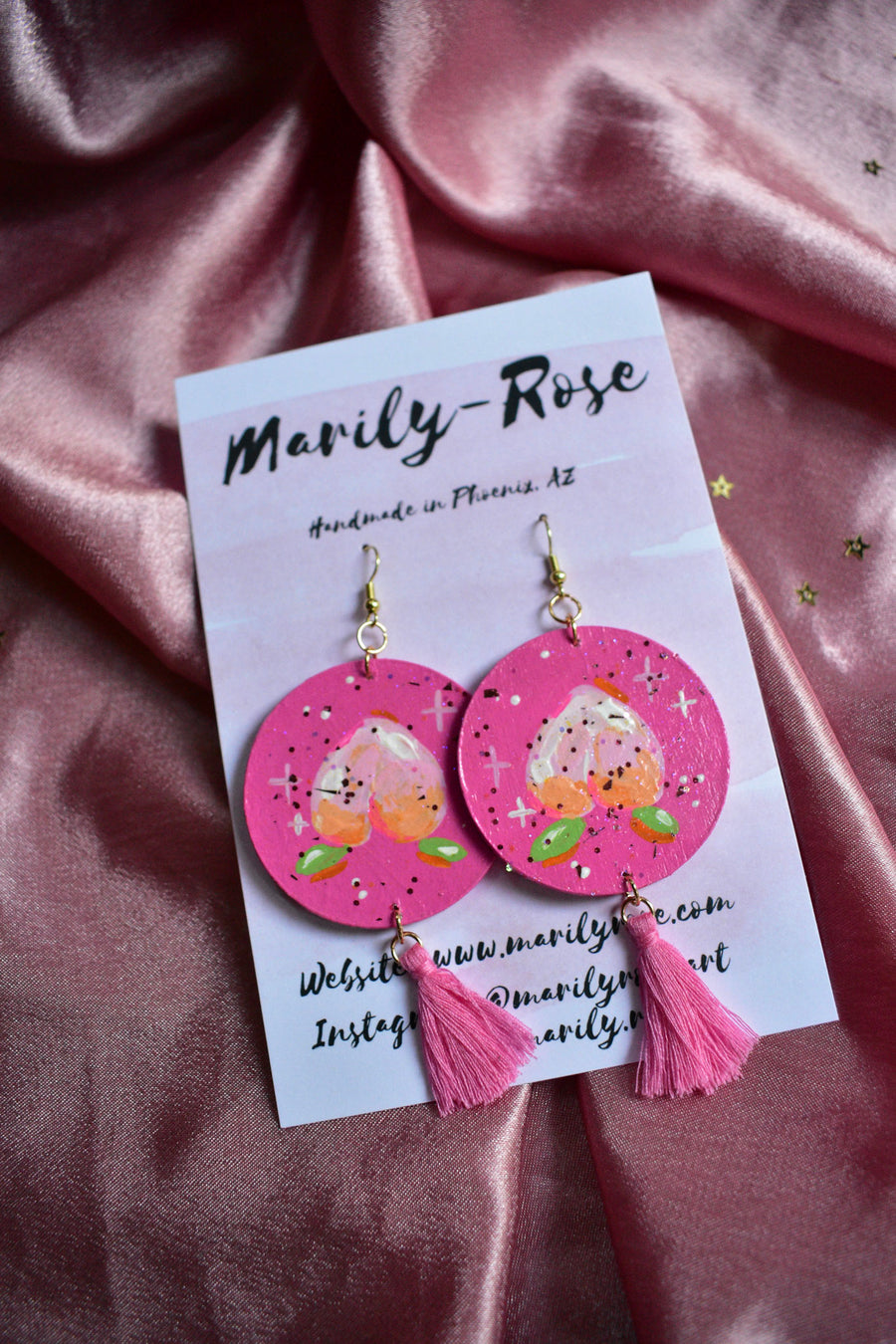 HandPainted Earrings | Peach Sparkle