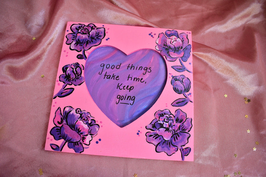 Painted Frame | Purple Flower Heart