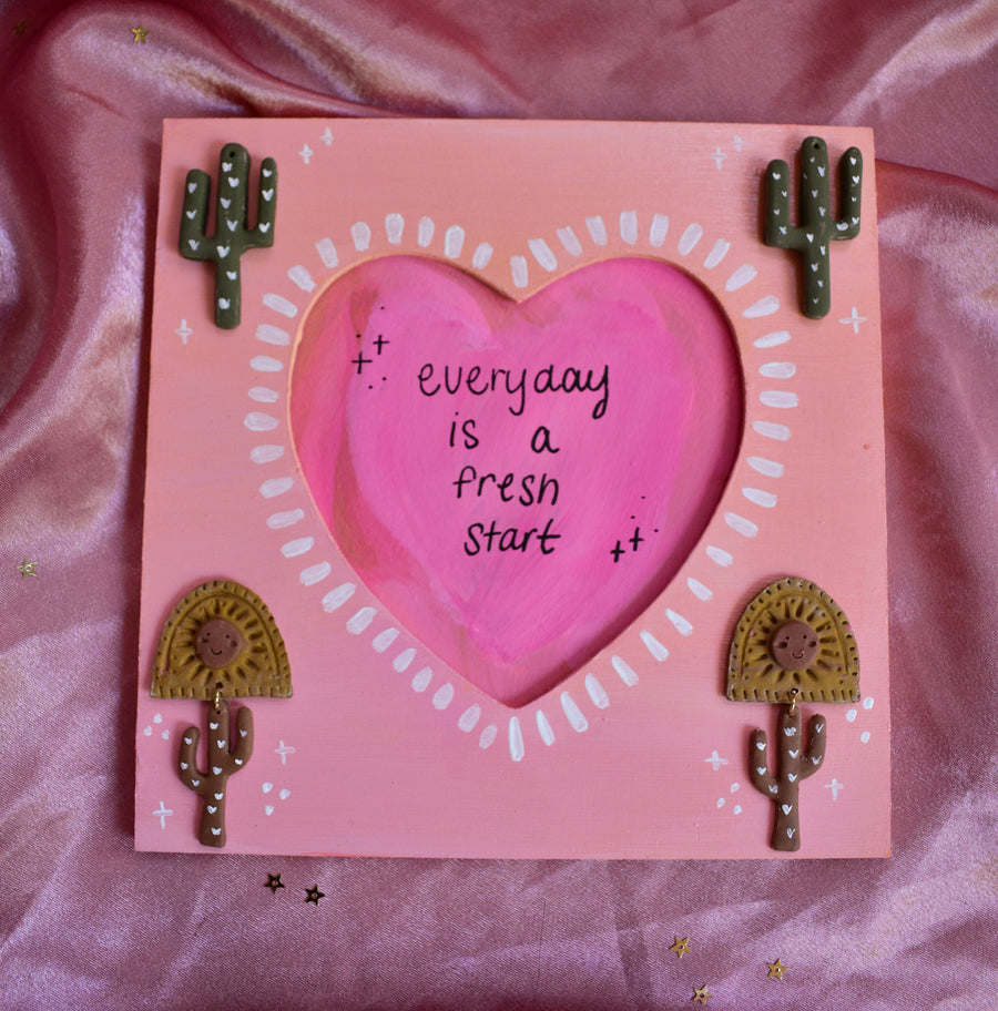 Painted Frame Polymer Clay Cacti Sunset Sherbet