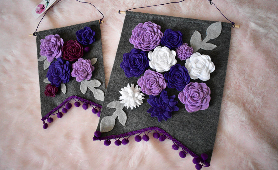 Felt Banners | Purple Flowers