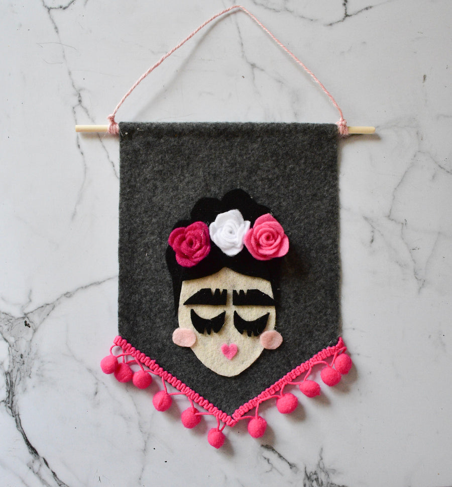 Frida Felt Banner - Dark Grey Backgrounds