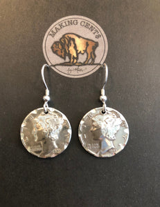 Making Cent$ Antique Mercury Dime Earrings Polished