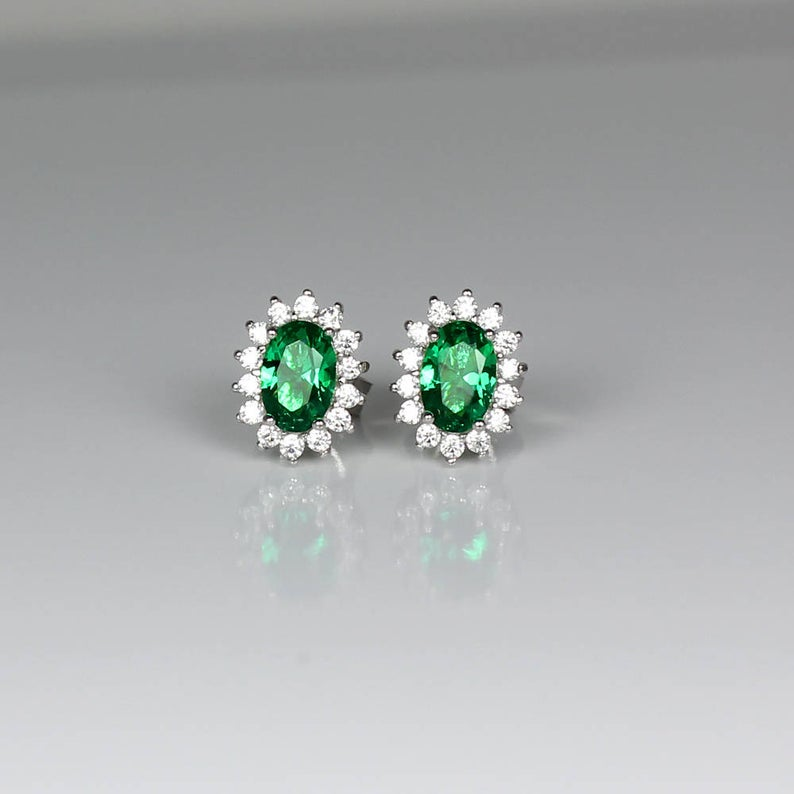 14K White Gold-Filled Emerald and Diamond Stud Earrings / Halo-Style
