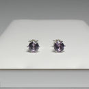 Color-Changing Alexandrite Stud Earrings 925 Sterling Silver / Round-Shaped