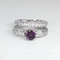 Color-Changing Alexandrite and Diamonds 925 Sterling Silver Engagement Ring Set / Diamond Accents