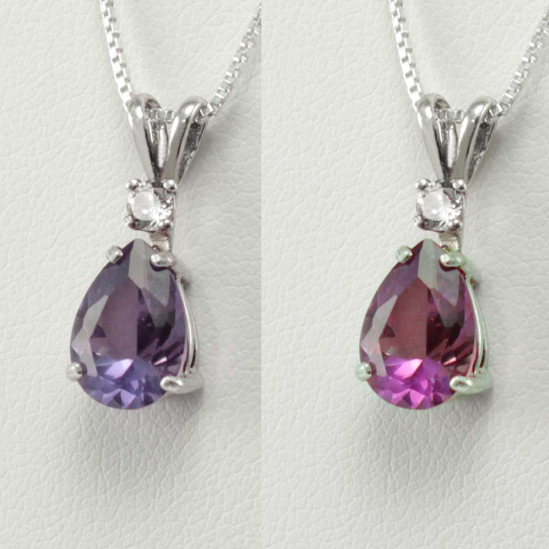 Color-Changing Alexandrite Necklace 925 Sterling Silver / 2.7 Ct.