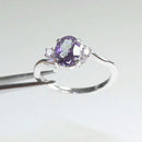 Color-Changing Alexandrite Ring 925 Sterling Silver / Oval-Shaped