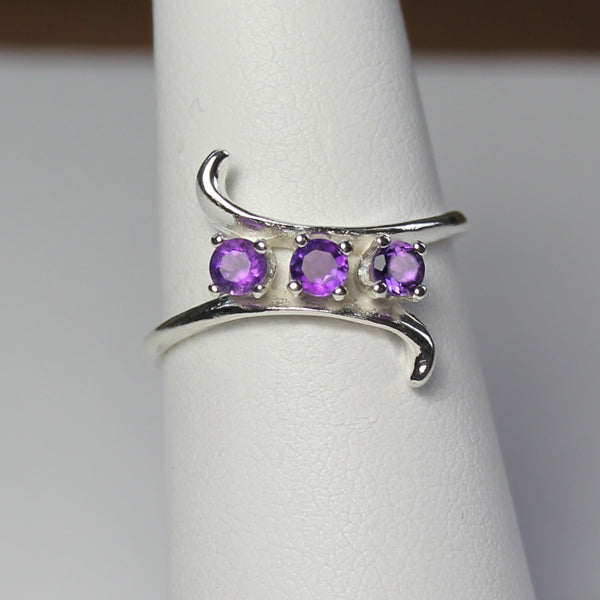 Natural African Amethyst 925 Sterling Silver Ring / Mother's Ring