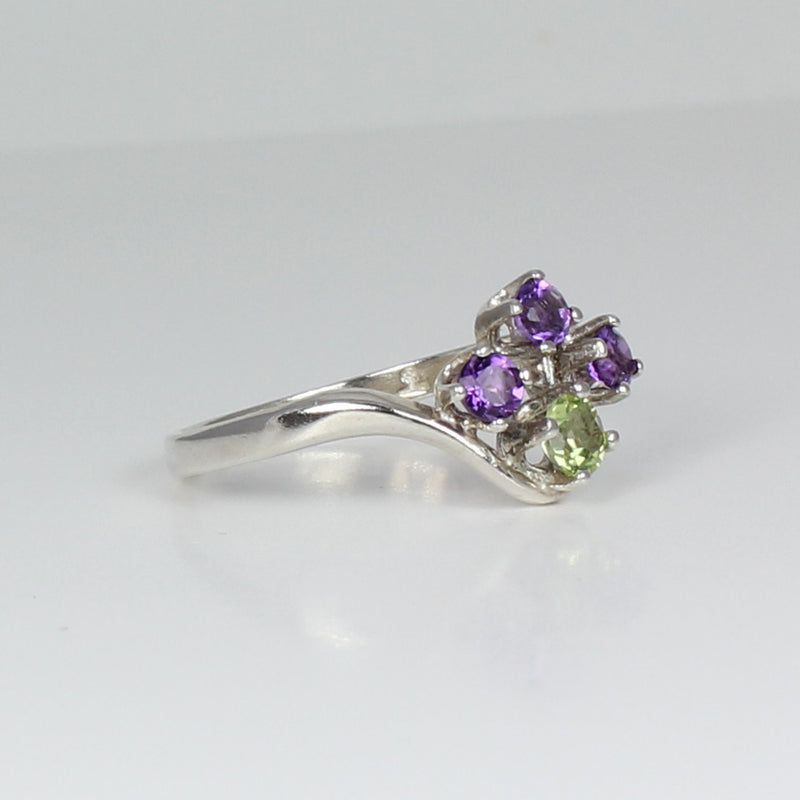 Natural African Amethyst and Peridot 925 Sterling Silver Ring