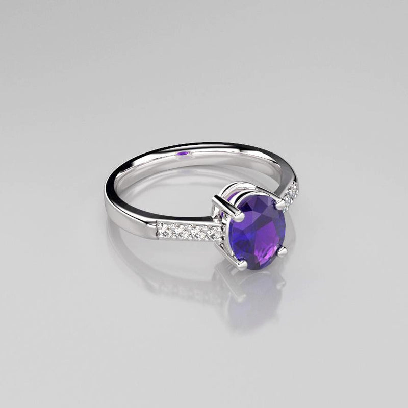 Natural African amythyst ring sterling silver 925