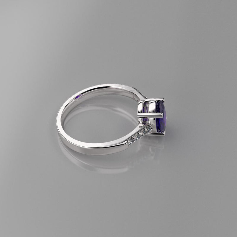 Natural African Amethyst Ring 925 Sterling Silver / Accented