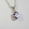 Natural Amethyst and White Diamond Accent Necklace 925 Sterling Silver / Oval-Shaped