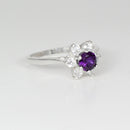 Natural African Amethyst Ring 925 Sterling Silver / Flower-Style