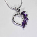 Natural African Amethyst Necklace 925 Sterling Silver / Heart-Shaped February Birthstone