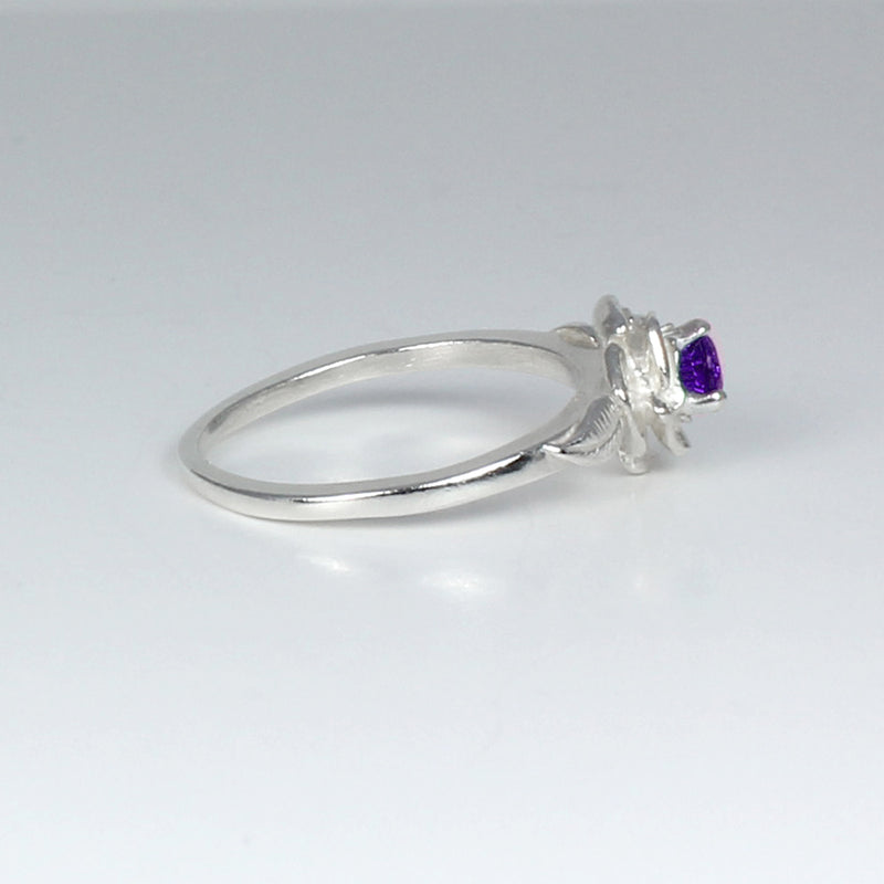 Genuine African Amethyst Ring 925 Sterling Silver / Flower-Style Petite Ring