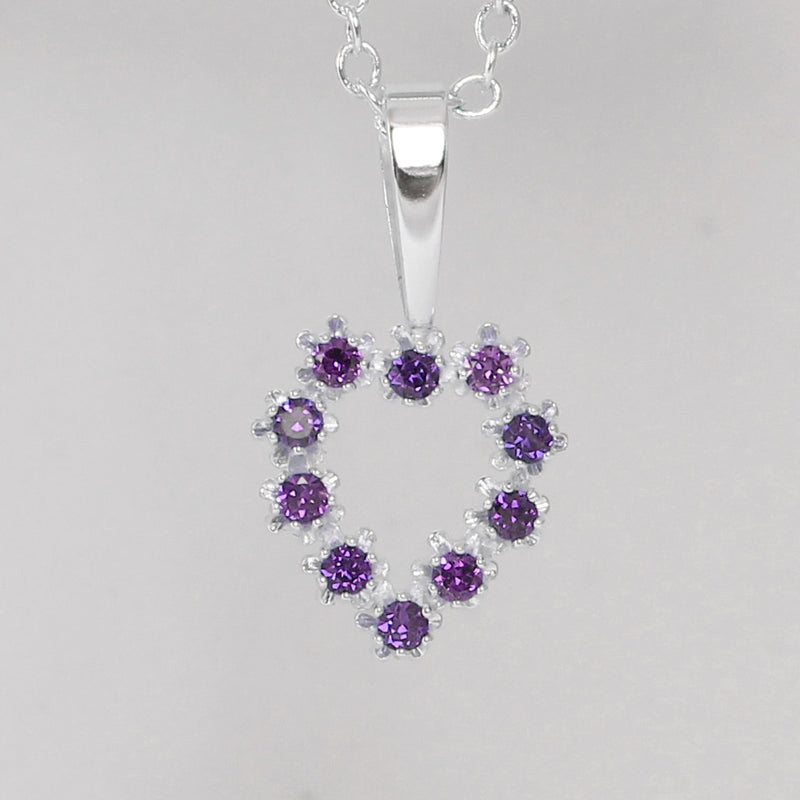 Natural African Amethyst Necklace 925 Sterling Silver / Heart-Shaped Pendant