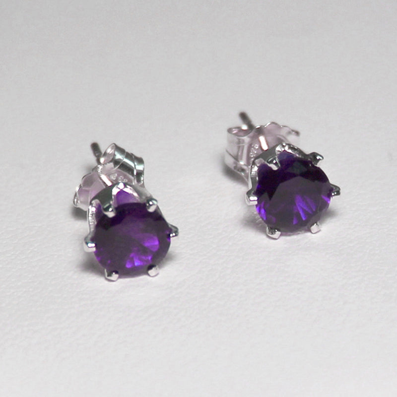 Natural African Amethyst Stud Earrings 925 Sterling Silver