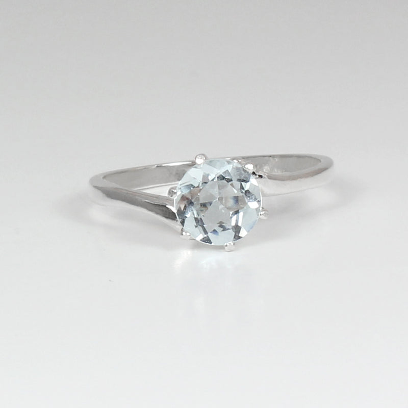 Natural Aquamarine Ring 925 Sterling Silver / Bypass-Style