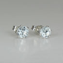 Natural Aquamarine Stud Earrings 925 Sterling Silver / Round-Shaped