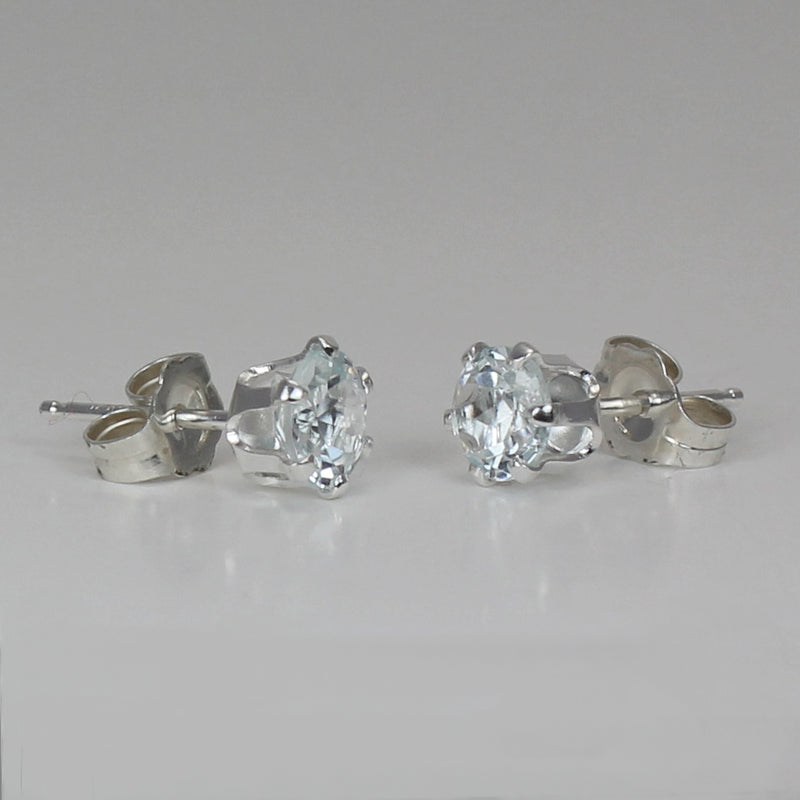 Natural Aquamarine Stud Earrings 925 Sterling Silver / 1.5 Ct.