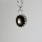 Genuine Black Star Sapphire Necklace 925 Sterling Silver / Sapphire Accent / Oval-Shaped