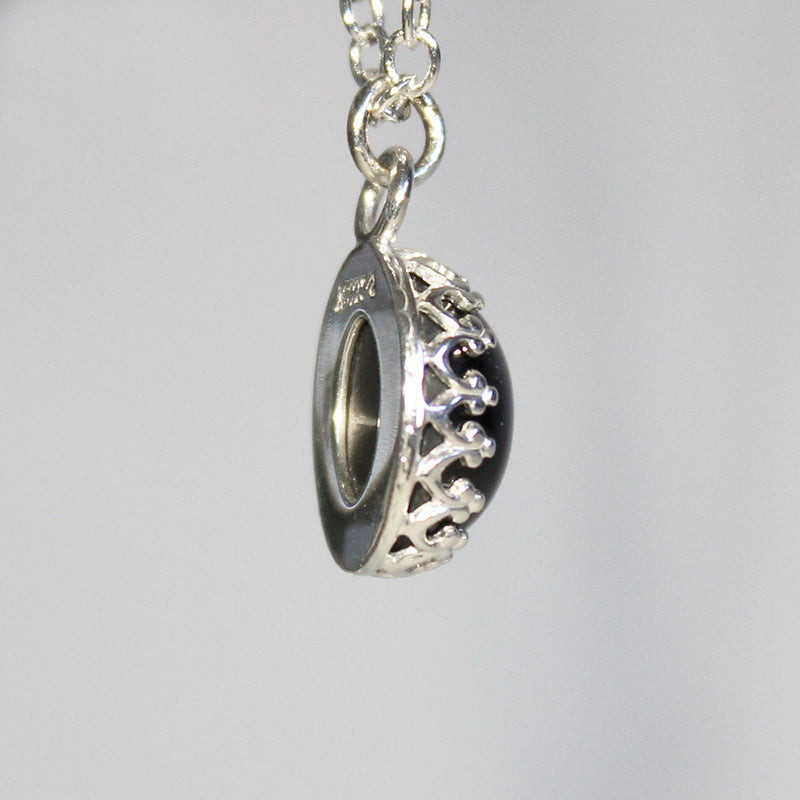 Natural Black Star Sapphire Necklace 925 Sterling Silver / Pendant with Sapphire Accent